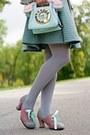 Heather-gray-hat-silver-blazer-light-blue-bag-bubble-gum-pumps