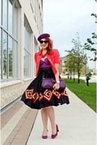 black circle Nine West skirt - coral jacket - purple leather bag