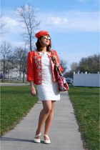 salmon Nygard blazer - white Moon dress - salmon self-made hat