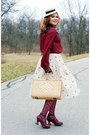 Beige-straw-le-chateau-hat-maroon-memoi-tights-black-lace-icing-gloves