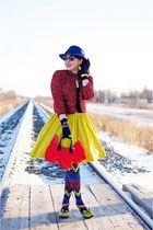 red scottie dog purse - red tweed jacket - blue zigzag tights - chartreuse skirt