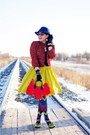 Red-tweed-jacket-blue-zigzag-tights-red-scottie-dog-purse-chartreuse-skirt