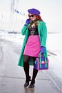Deep-purple-leather-bodhi-handbags-bag-aquamarine-wool-vintage-coat