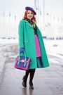 Aquamarine-wool-vintage-coat-deep-purple-leather-bodhi-handbags-bag
