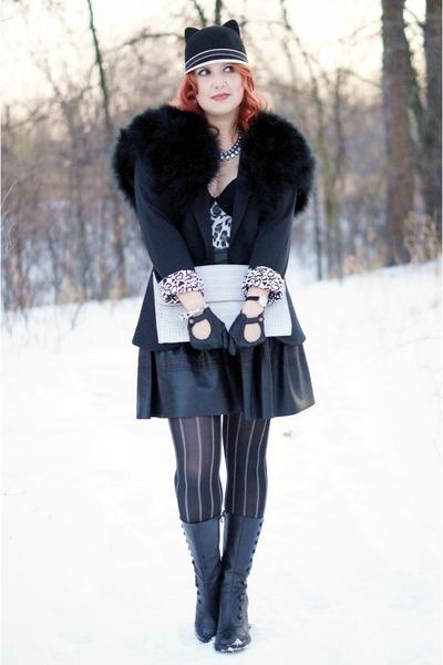 black leather Fluevog boots - black cat ears Claires hat