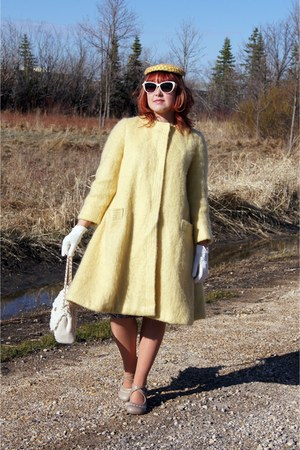 light yellow mohair vintage coat - silver Fluevog shoes