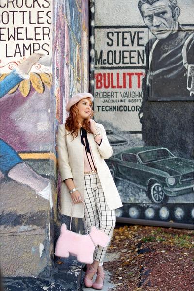 light pink scottie dog bag - beige tweed coat - light pink wool beret hat