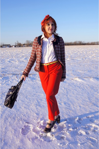 navy pink tartan jacket - navy danier bag - red Express pants