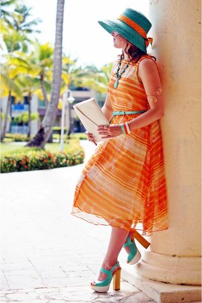 turquoise blue straw betmar new york hat - orange chiffon Topshop dress