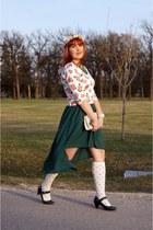 green high low skirt Forever 21 skirt - ivory vintage bag