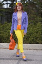 yellow Gap jeans - violet danier jacket - carrot orange Nine West bag