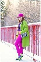lime green coat - charcoal gray boom box clutch bag - hot pink cropped pants