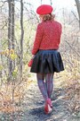 Red-tweed-forever-21-blazer-heather-gray-plaid-betsey-johnson-tights