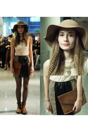 FuKU skirt - Lasocki boots - cotton reserved hat - bag - Marks & Spencer blouse