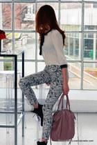 floral print J Brand jeans - Manolo Blahnik boots - coach bag