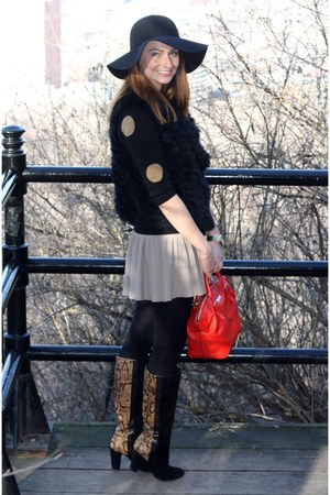 rose gold boots - H&M hat - J Crew sweater - kate spade bag