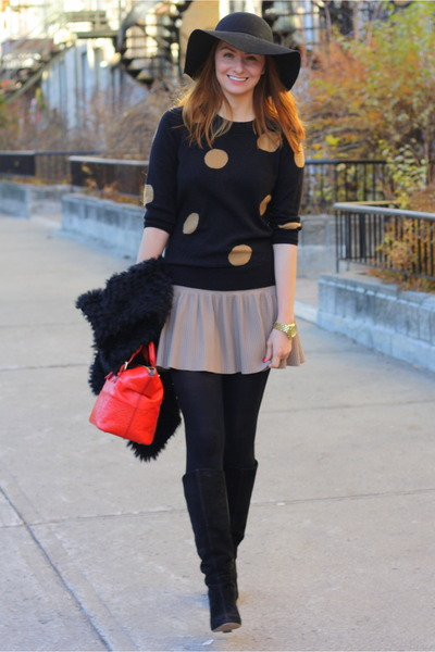 H&M hat - rose gold boots - J Crew sweater - kate spade bag
