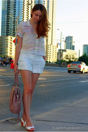 Club Monaco shorts - coach purse - wilfred blouse - Fendi wedges