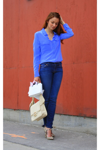 talula babaton blouse - 7 for all mankind jeans - Zac Posen bag
