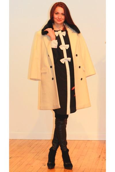 pink tartan dress - La Baccarina boots - pink tartan coat