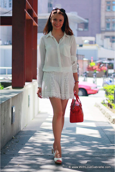 BCBG skirt - kate spade bag - kate spade sunglasses - Club Monaco blouse