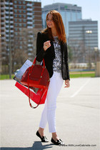 Marc Jacobs bag - skinny 7 for all mankind jeans - Juicy Couture blazer