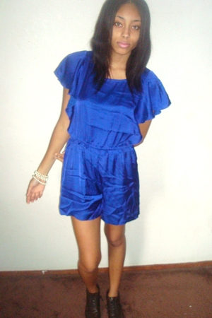 blue H&M dress - brown thrift shoes