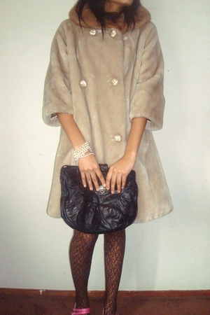 beige jacket - brown Buffalo Exchange tights - pink vintage shoes