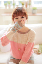 Pastel Color-blocked Sweet Sweater