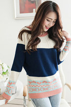 Color-blocked Bowknot & Heart Navy Sweater