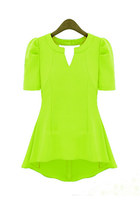 V-neckline Short Sleeves Slim Chiffon Top - Fluorescent Yellow