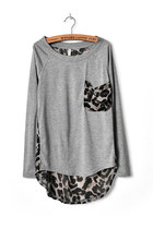 Light Gray Leopard Pocket & Chiffon Back Irregular Hem T-shirt