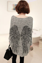 Angel Wings Irregular Hem Bat-wing Sleeves Gray Sweater