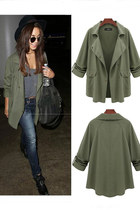Army Green Press Studs Casual Coat