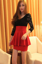 Lace Long Sleeves Peplum Bodycon Mini Red Dress