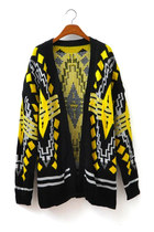 Diamond-Shaped Yellow/Black Long Cardigan