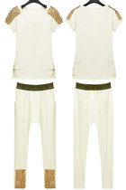 White Spikes Studded T-shirt & Harem Pants 2pcs Set