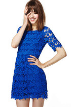 Sheer Flower Lace 1/2 Sleeves Dark Blue Dress