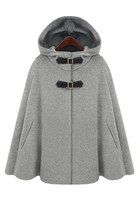Hooded Cape Style Light Gray Coat