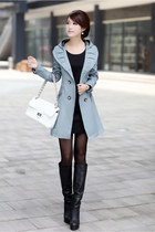 Lace Hooded Double Breasted Sky Blue Trench Coat