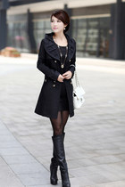 Lace Hooded Double Breasted Black Trench Coat