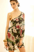 Sexy One Shoulder Floral Chiffon Dress