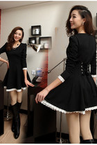 Lacing Up Back Lace Hem Long Sleeves Black Dress