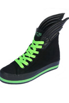 Contrast Color Lacing Up Wings Black Sneakers Shoes