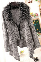 Fluffy Collar Big Zipper Irregular Hem Cardigan