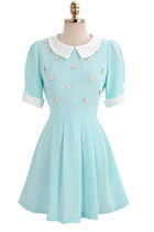 Peter Pan Collar Floral Beading Light Blue Chiffon Dress
