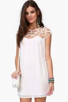 Cut Out Weave Shift Chiffon White Mini Dress