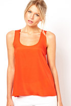 Cut Out Weave Back Irregular Hem Tank Top - Orange