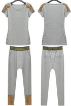 Gray Spikes Studded T-shirt & Harem Pants 2pcs Set