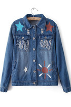 Lovely Stars & Sun Print Denim Coat